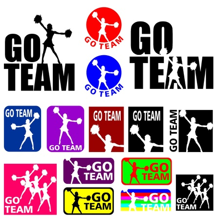 cheer leader: Siluetas ilustraciones de un equipo de cheerleader deporte en diferentes colores