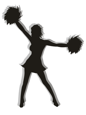 Black and white illustration of a cheerleaders silhouette. Illustration