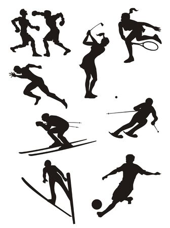 bowman: Collection of sports vector black isolated on white background.