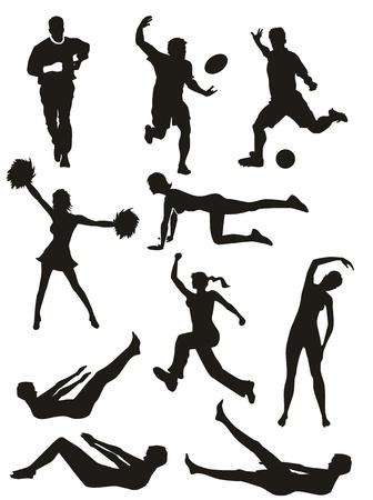 Conjunto de siluetas de fitness. Los hombres y mujeres que realizan deportes y ejercicios.
