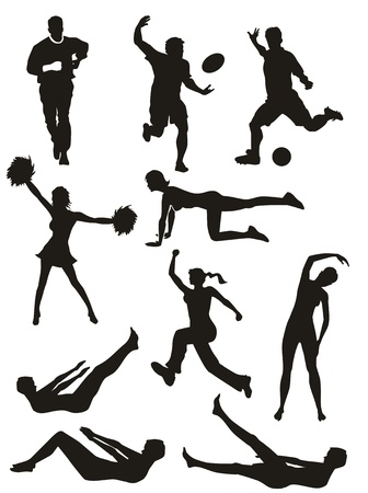 group fitness: Set of fitness silhouettes. Men and women doing sports and exercises. Illustration