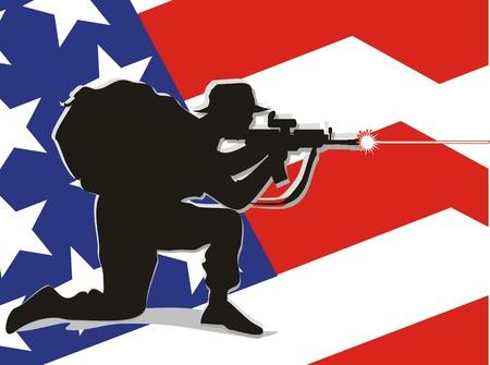 firing: Patriot soldier firing his rifle