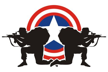 pistol gun: Symbol and Concept of defending the country, American soldiers with shield with the colors of USA