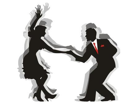 Ilustración de la silueta de un baile de swing de pareja. Cdr ilustración editable