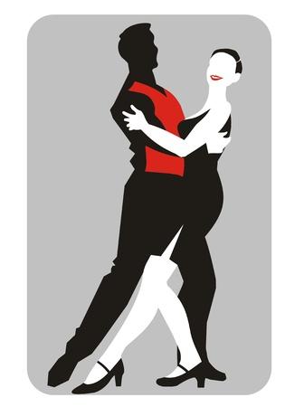 Ilustración de la silueta de una pareja bailando. Ilustración Cdr. Vectores