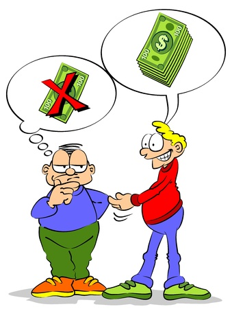 Un amigo le pide un préstamo de dinero. El otro amigo duda entre prestar dinero o no.