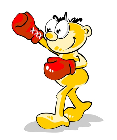 Conceptual illustration with a little guy with red boxing gloves in hands