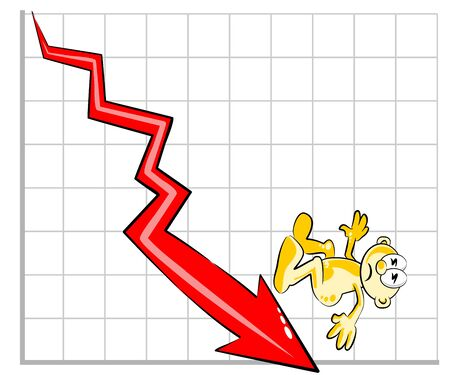 crouch: Man down by the negative impact of their business. Negative sales graph with a big red arrow pointing down. Illustration