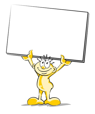 Little man with empty poster in hand. Conceptual illustration for any occasion. You can add text and make the message fit any holidays. Stock Vector - 21458010