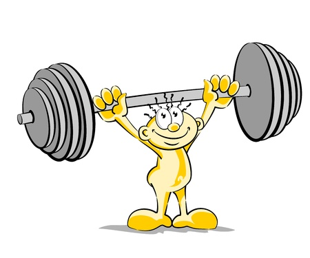 Conceptual illustration of a huge man lifting weights. Weightlifter isolated on white. Vector