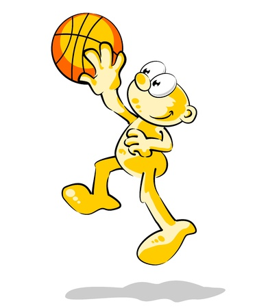 layup: Conceptual illustration about sports and basketball. Funny basketball player trying to score