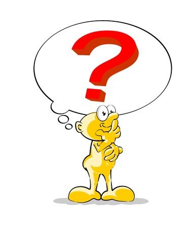 Vector illustration med en liten man tänker med ett stort frågetecken