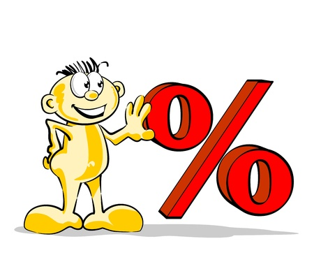 rebates: Conceptual illustration sales, closeouts, rebates and offers, represented by the percent symbol.