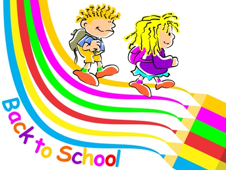 gir: Conceptual image promoting the return to classes of school to start the season. Boy and girl walking to school Illustration