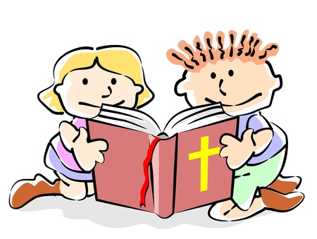 Children sitting reading the Bible. Conceptual illustration to promote the spread of the word of God and the Bible reading among children.