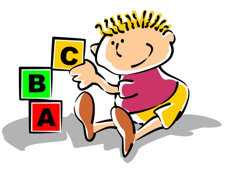 an illustration promoting: Little boy playing with building blocks. Conceptual illustration to promote preschool education.