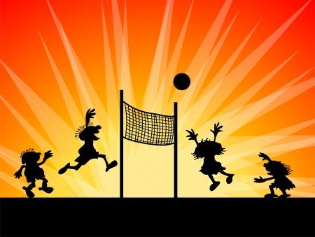 Konceptuell illustration. Silhuetter av barn som leker volleyboll. Barnen hoppar och kör på solnedgången.
