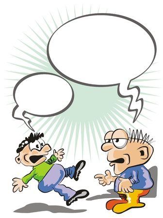 gossiping: Fill the Bubble speech and imagine the jokes that are told two friends. Two guys sharing a secret gossiping Illustration