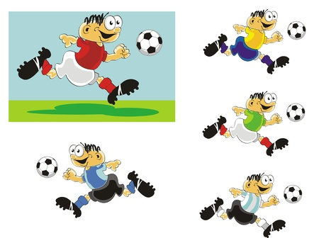 kick out: Funny soccer players running with the ball, ready to shoot at the goal. Illustration