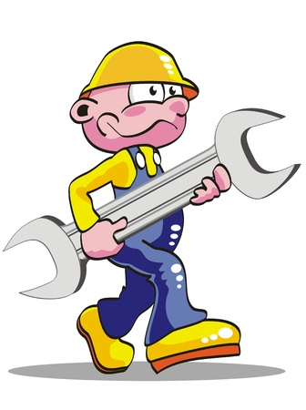 A repairman worker with a tool  smiling. Isolated. Vector