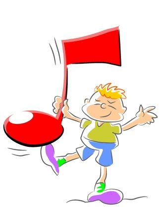 Niño pequeño que sostiene la nota musical. Ilustración conceptual para promover la educación musical para los niños pequeños. Vectores