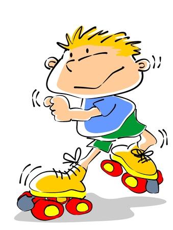Liten pojke rullskridskor. Konceptuell illustration för att uppmuntra utomhusaktiviteter och sport förskola.