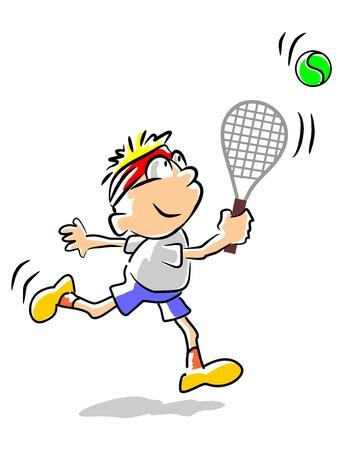 educacion fisica: Ni�o jugando tenis. Ilustraci�n conceptual para promover la educaci�n f�sica y el deporte entre los ni�os en edad preescolar.