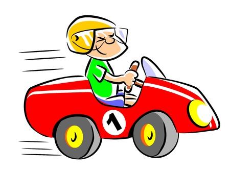 Niño pequeño que juega en su coche del pedal. Niño que sueña con ser un piloto de carreras de velocidad cuando crezca.