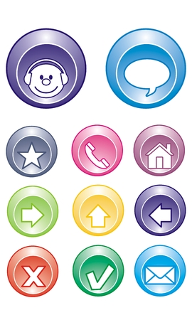 unchecked: Buttons for use in web pages. Icons for customer service, contact and more.