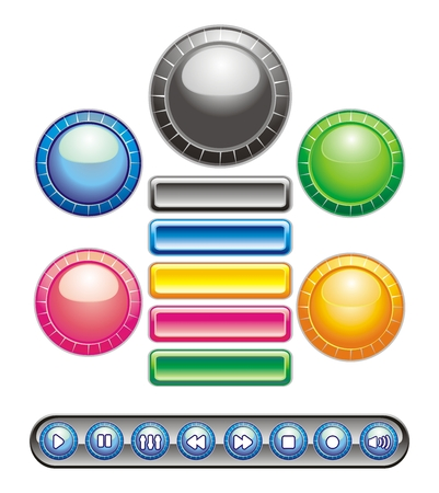 unchecked: Circular and rectangular buttons of different colors. Buttons for use in web pages. Icons for customer service, contact and more. Illustration