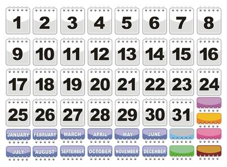 Calendarios con todos los d�as del 1 al 31 y los nombres de los meses en diferentes colores. Foto de archivo - 22731442