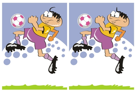 Game for childrens: find the 7 differences between these two soccer players. Vector
