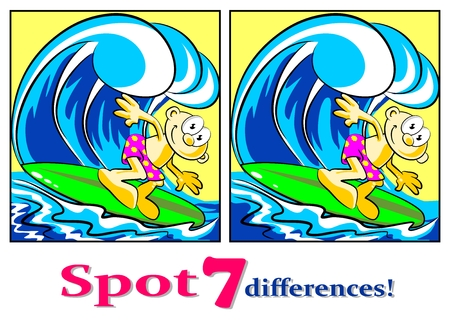 Game for childrens: spot the 7 differences between these two surfers. Illustration