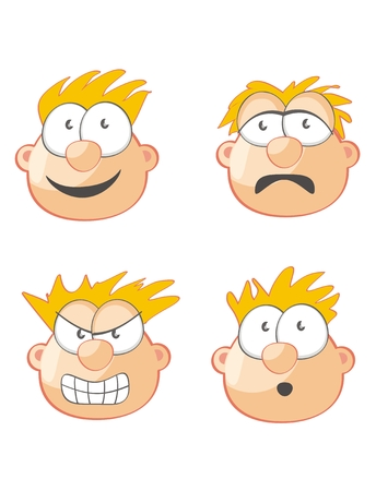 consternation: Four Faces of Man expressing joy, anger, surprise and sadness