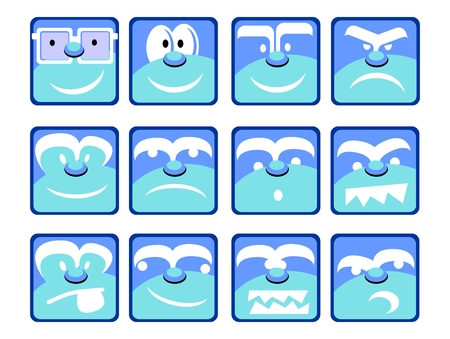 moods: Set of twelve smilie face icons isolated on white