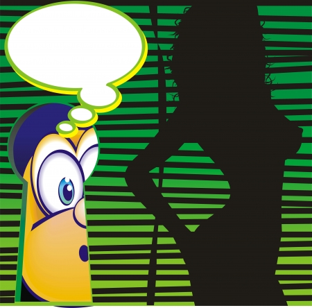 neighbor: Man spying on his pretty neighbor by the keyhole