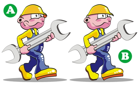 Game for childrens: spot the 7 differences between these two engineers. Illustration