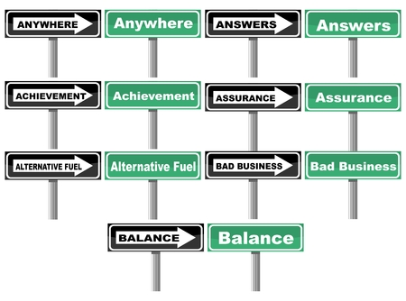 anywhere: Traffic signs with words about assurance and balance