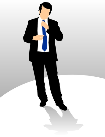 Business man adjusting tie Vector