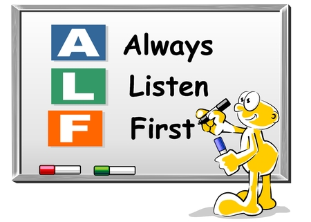 alf: Conceptual illustration. Always Listen First ALF acronym on Whiteboard