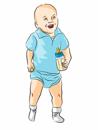 Baby taking its first steps and carrying a bottle Stock Vector - 22742949