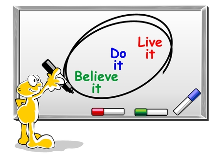 Words written on a whiteboard with marker Believe, do, live it Stock Vector - 22747773