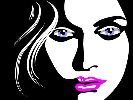 Croquis du visage belle femme, les yeux bleus et les lèvres roses. Illustration en noir et blanc Banque d'images - 22747781