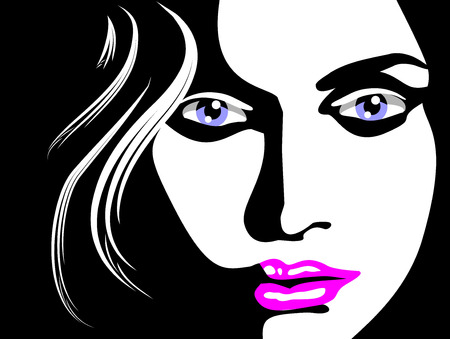 Sketch of beautiful woman face, blue eyes and pink lips. Illustration in black and white Vector