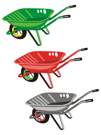 manure: Wheelbarrows isolated in different colors Illustration