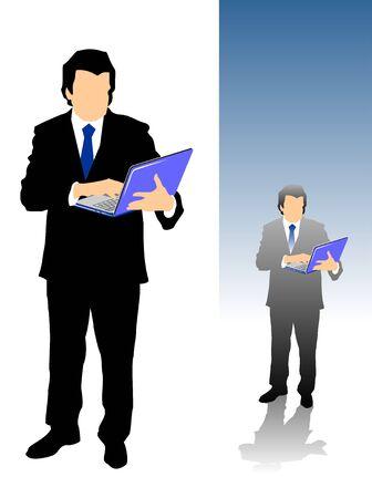 using laptop: Uomo d'affari maturo utilizzando il computer portatile