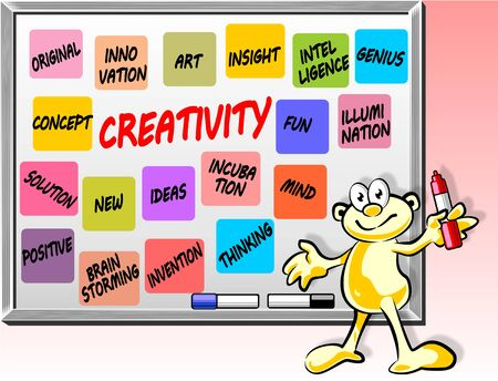 Original and conceptual illustration with a Creativity word cloud on Whiteboard Vector