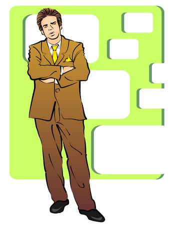 Retrato de un hombre de negocios de mediana edad con los brazos plegables con traje marrón.
