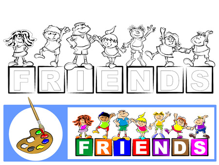 Coloring the seven friends. A set of black and white coloring book sketches. Painting the white sketch, following the details of the color image. Illustration