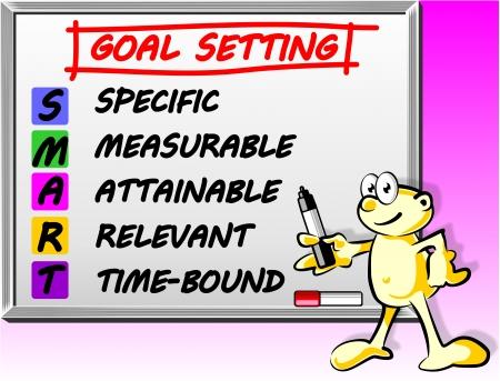화이트 보드에 단어 스마트 목표 설정 개념 일러스트